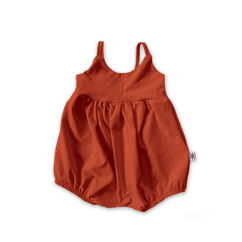 Bellevue Bubble Romper in Persimmon (choice of sleeve length)