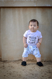 Milk + Cookies (Ice Blue) Harem Shorts or Bummies for Baby Toddler & Kids