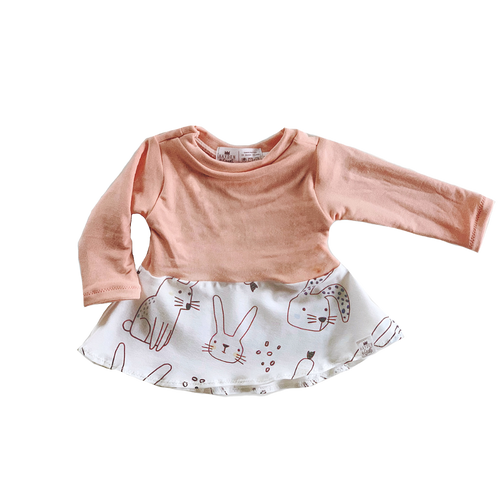 Peach Bunny Peplum Top for Baby Toddler and Kids