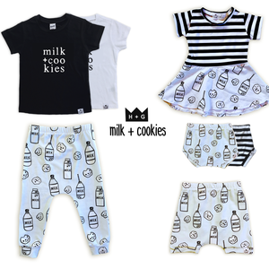 Milk + Cookies (Ice Blue) Bummies or Harem Shorts for Baby Toddler & Kids