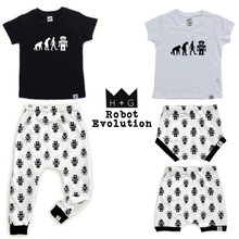 Load image into Gallery viewer, Robot Evolution-Baby Shirt- Black or White Graphic Tee