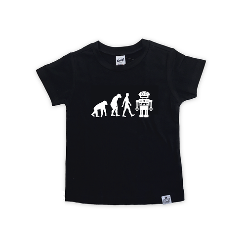 Robot Evolution-Baby Shirt- Black or White Graphic Tee