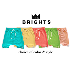 Bright Drawstring Harem Shorts or Bummies (Lemon, Key Lime, Watermelon, Cantaloupe, Capri Blue)