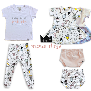Unicorn Bummies or Harem Shorts for Baby Toddler & Kids