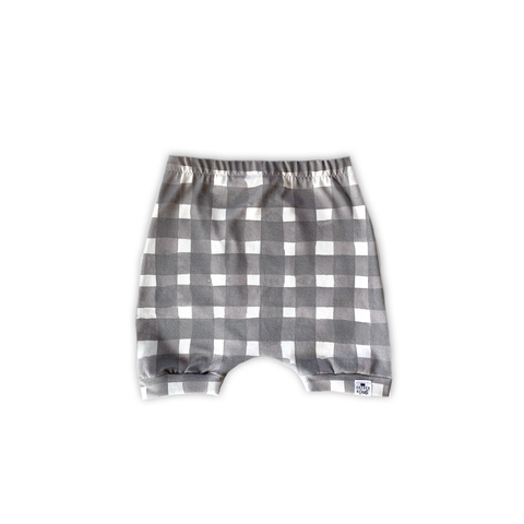 Gray Watercolor Gingham Harem Shorts or Bummies for Baby Toddler and Kids