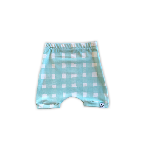Seafoam Blue Watercolor Gingham Harem Shorts or Bummies for Baby Toddler and Kids