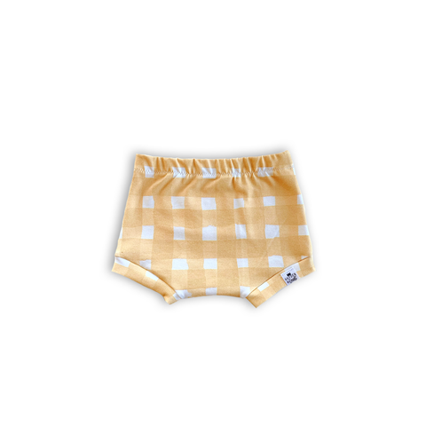 Yellow Watercolor Gingham Bummies or Harem Shorts for Baby Toddler and Kids