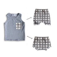 Load image into Gallery viewer, Handmade Pocket Tank [Grey Gingham] + Harem Shorts or Bummies Gift Set