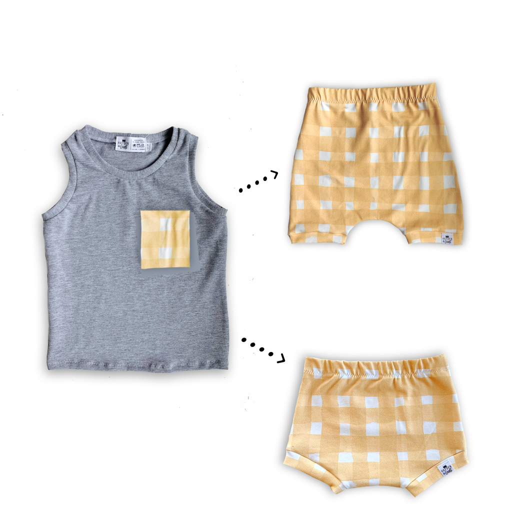 Handmade Pocket Tank [Yellow Gingham] + Harem Shorts or Bummies Gift Set