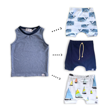 Load image into Gallery viewer, Handmade Tank Top [Denim Blue + Navy] + Harem Shorts or Bummies Gift Set