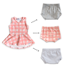 Load image into Gallery viewer, Handmade Peplum Tank [Pink Gingham] + Bummies Gift Set