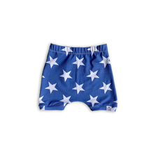 Load image into Gallery viewer, Solid Stars (Sunkissed Blue) Bummies or Harem Shorts for Baby Toddler and Kids