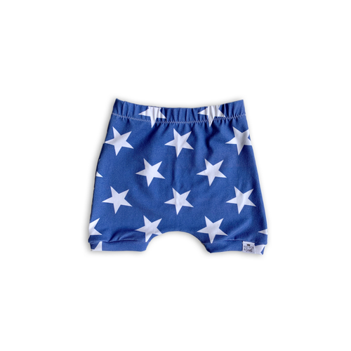Solid Stars (Sunkissed Blue) Harem Shorts or Bummies for Baby Toddler and Kids