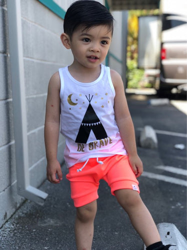 Neon Coral Harem Shorts or Bummies for Baby Toddler and Kids