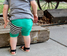 Load image into Gallery viewer, Kelly Green Sidecar Pocket Harem Shorts for Baby Toddler and Kids