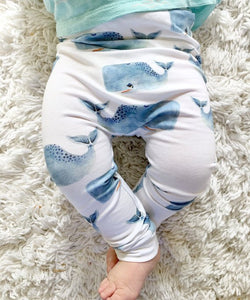 Whale Baby Leggings - Harem Pants - Joggers - Leggings for Baby Toddler and Kids