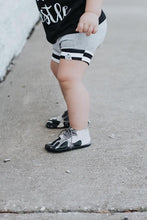 Load image into Gallery viewer, Gray Stripe Bummies or Harem Shorts for Baby Toddler and Kids