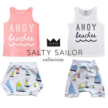 Load image into Gallery viewer, Sailboat Bummies or Harem Shorts for Baby Toddler and Kids