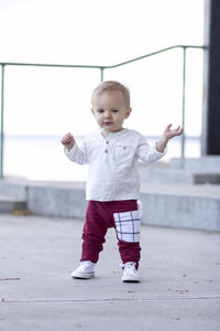 Wine Brooklyn Plaid Sidecar Pocket Harem Pants - Joggers for Baby Toddler and Kids