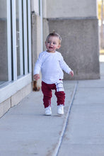 Load image into Gallery viewer, Wine Brooklyn Plaid Sidecar Pocket Harem Pants - Joggers for Baby Toddler and Kids