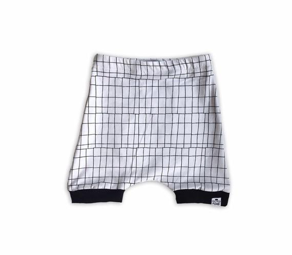 Monochrome Grid Harem Shorts or Bummies for Baby Toddler and Kids