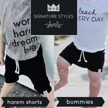 Load image into Gallery viewer, Neon Lime Green Harem Shorts or Bummies for Baby Toddler and Kids