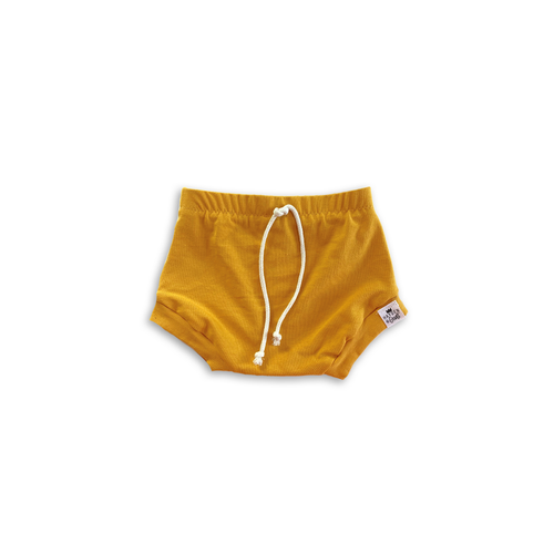Mustard Drawstring Bummies or Harem Shorts for Baby Toddler and Kids