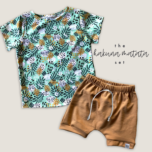 Hakuna Matata Tee + Toasted Wheat Crew Shorts Set