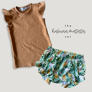 Hukuna Matata Ruffle Bummies + Toasted Wheat Flutter Tank Set