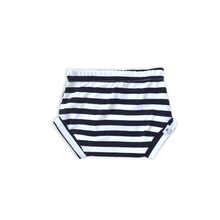 Load image into Gallery viewer, Black + White Stripe Bummies or Harem Shorts for Baby Toddler & Kids