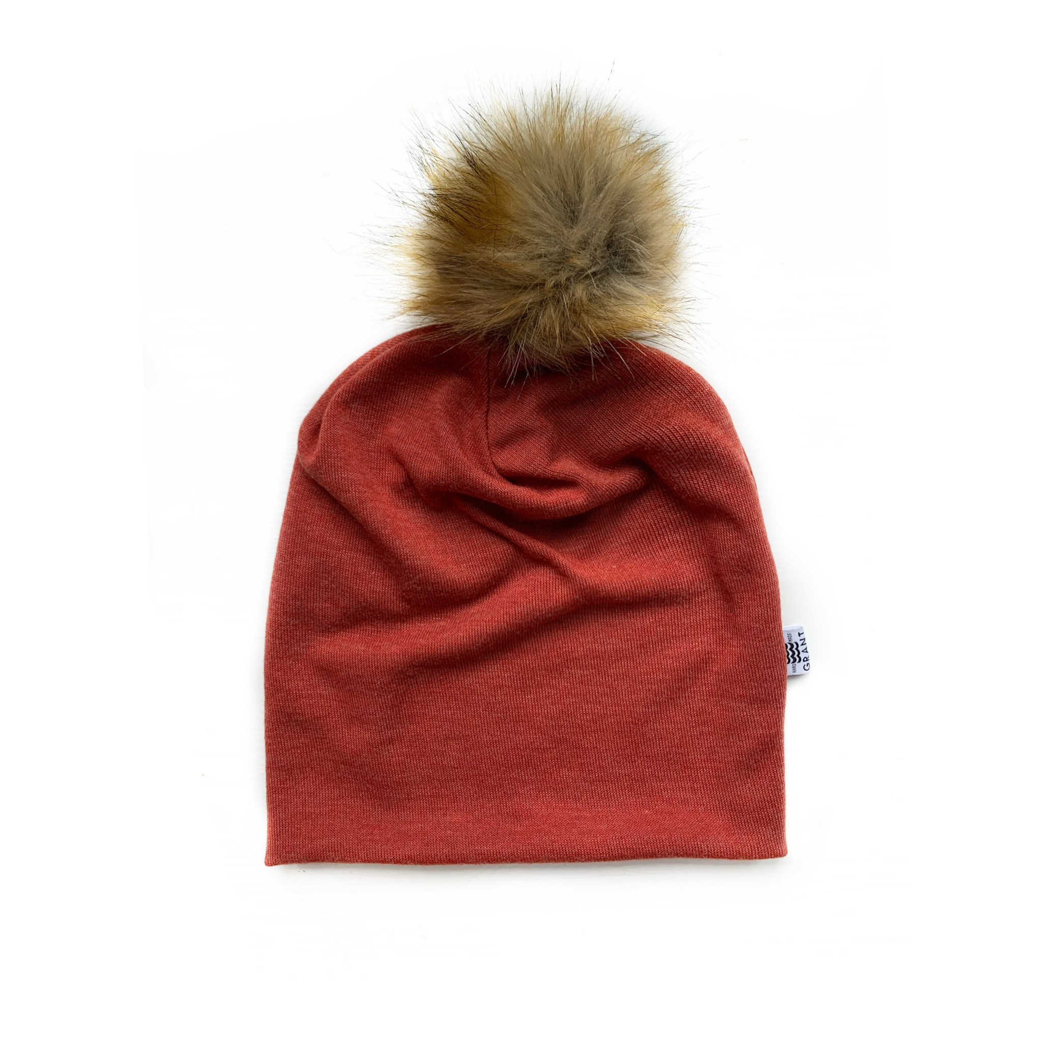 Slouchy Pom Beanie in Heather Russet