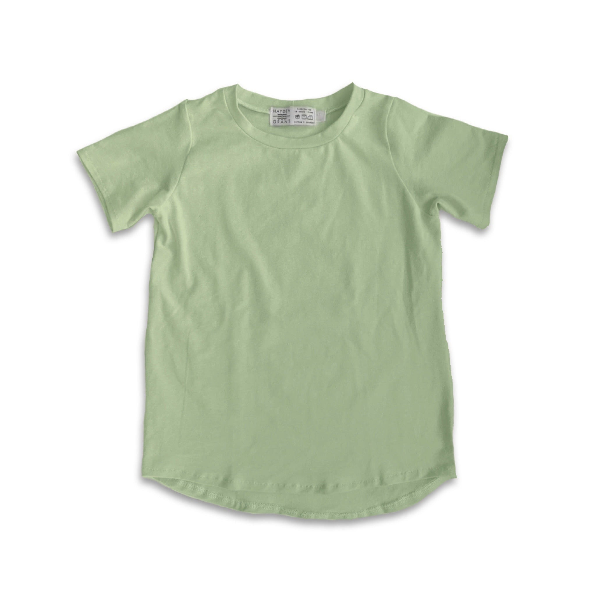 Curved Hem Tee in Green Tea (choice of sleeve length)