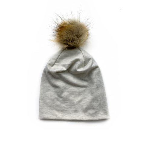Slouchy Pom Beanie in Heather Champagne
