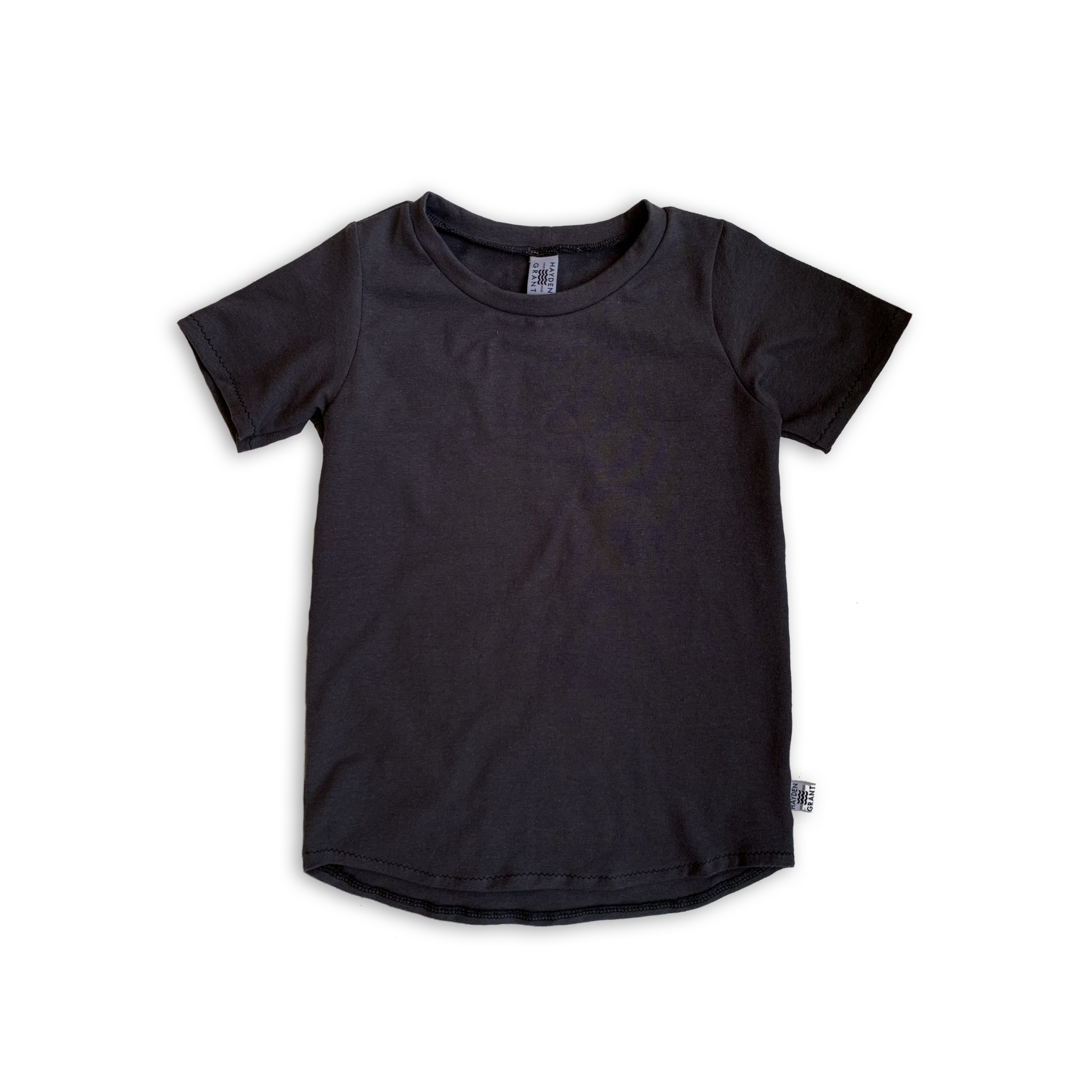 Curved Hem Tee in Solid Onyx Black (choice of sleeve length)