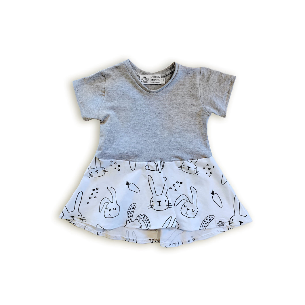 Gray Bunny Peplum Top for Baby Toddler and Kids