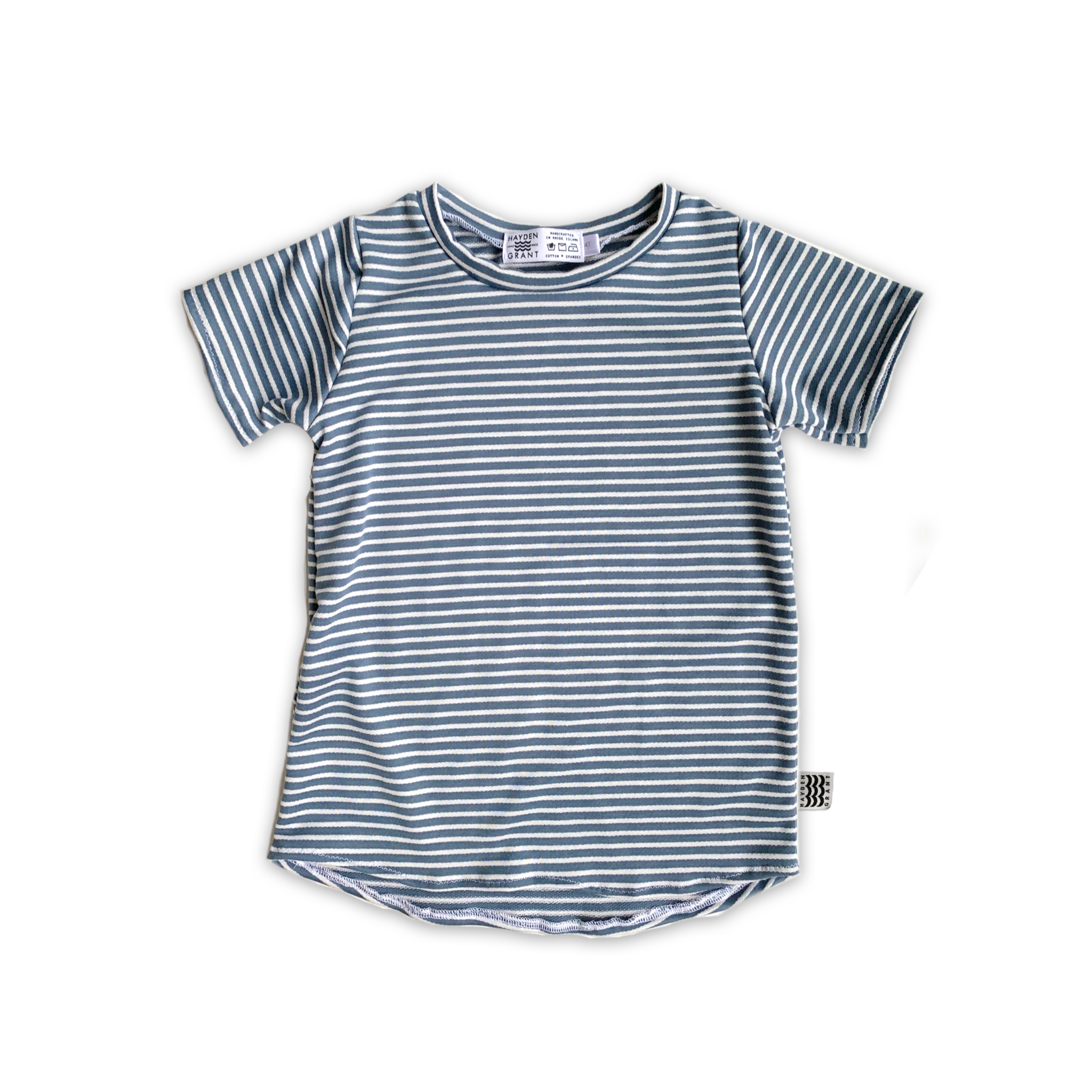 Curved Hem Tee in Sea Salt Stripe