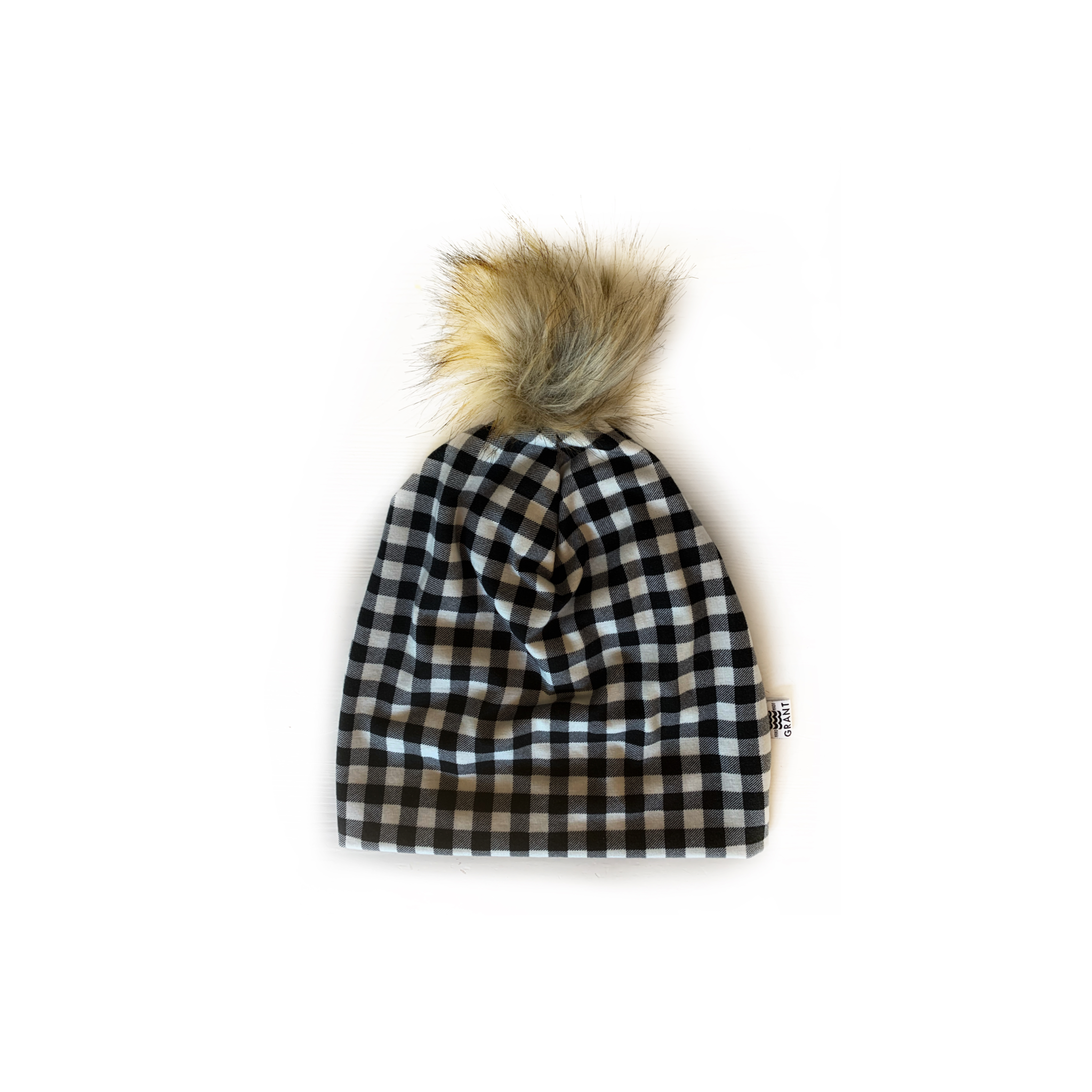 Slouchy Pom Beanie in Black + White Plaid