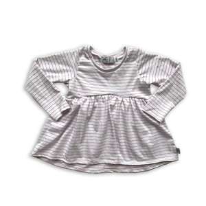 Handcrafted Peplum Tee in Sugarplum Stripe (choose of sleeve length)
