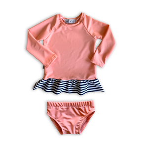 Daiquiri Cabana Stripe Ruffle Rash Guard + Bikini Bottoms Set