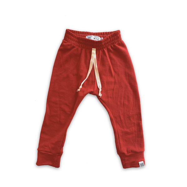 Essential French Terry Drawstring Joggers in Holly Berry