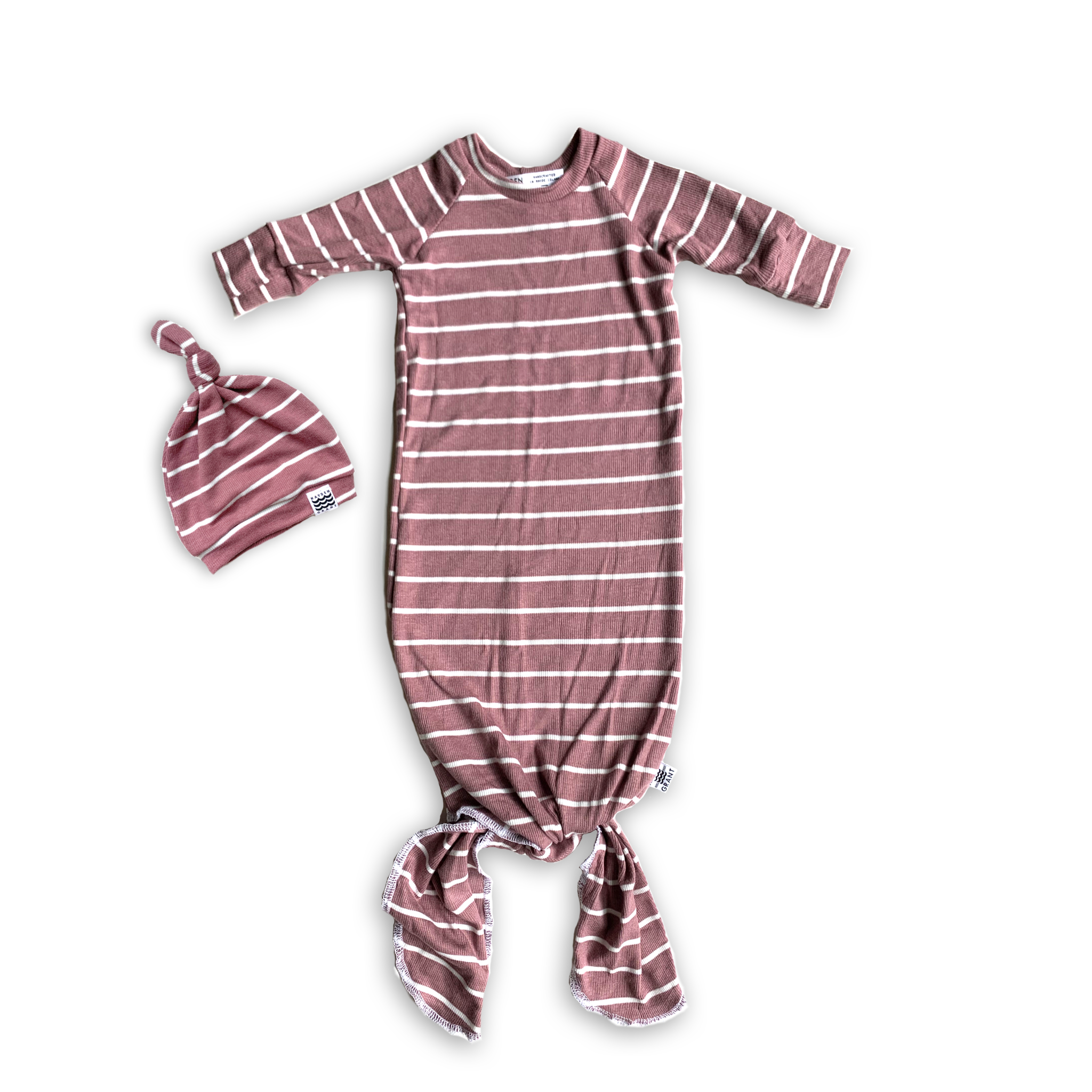 Knotted Sleeper Gown in Bold Sugarplum Stripe