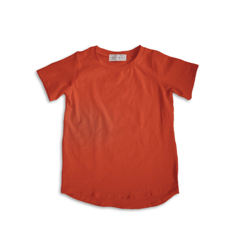 Curved Hem Tee in Persimmon (choice of sleeve length)