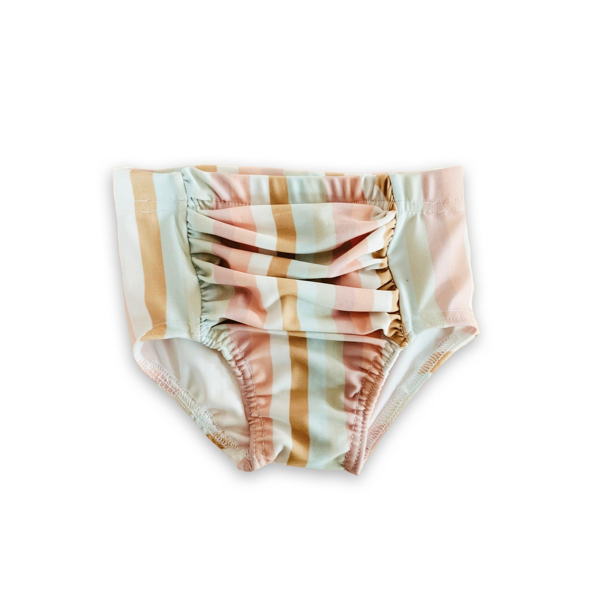 Ruched Swim Bottoms in Palm Springs Stripe