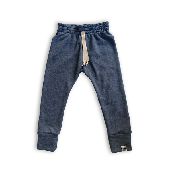 Essential French Terry Drawstring Joggers in Narwhal Blue