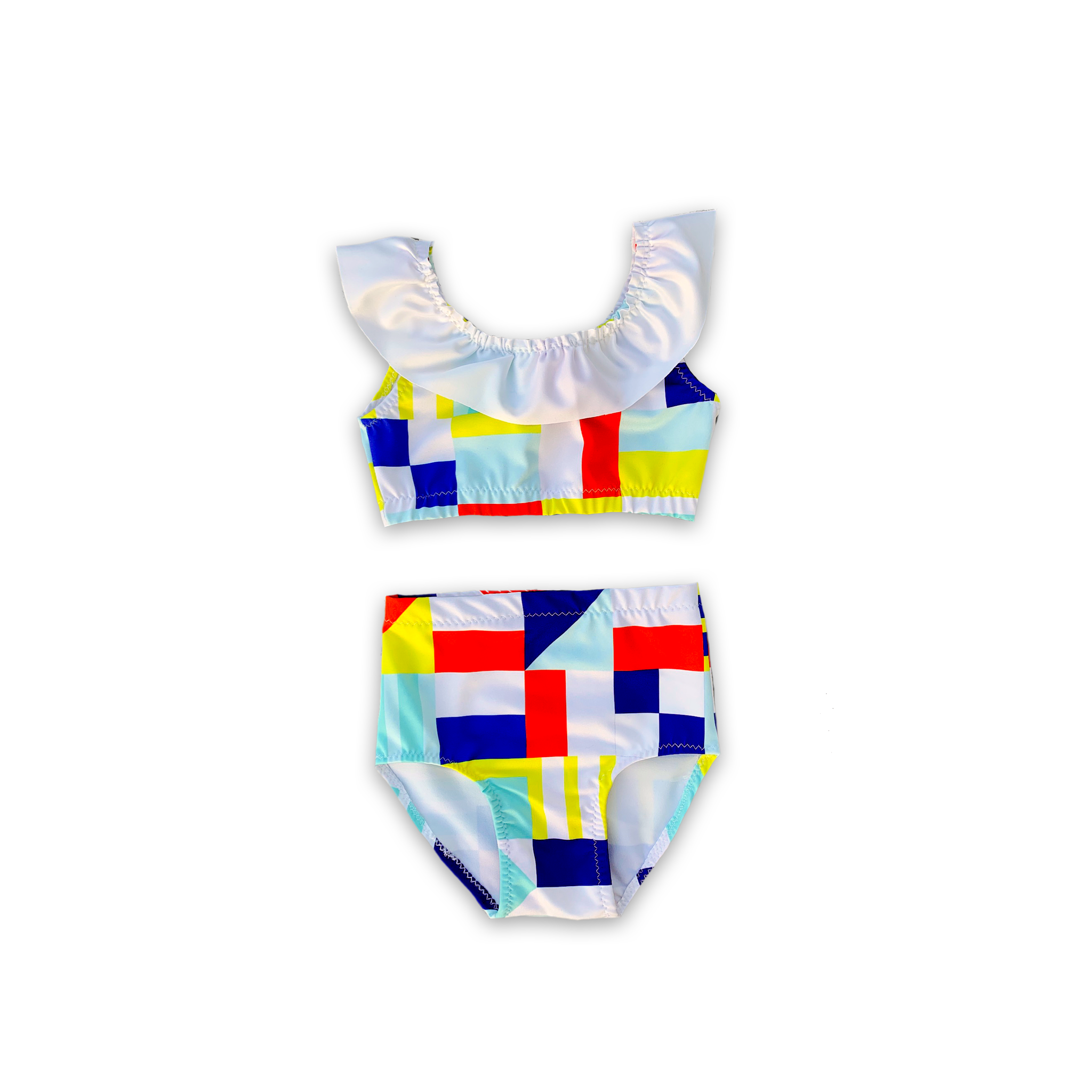 Saint Tropez (Nautical Flag) High Waist Ruffle Bikini-Baby, Toddler & Kids