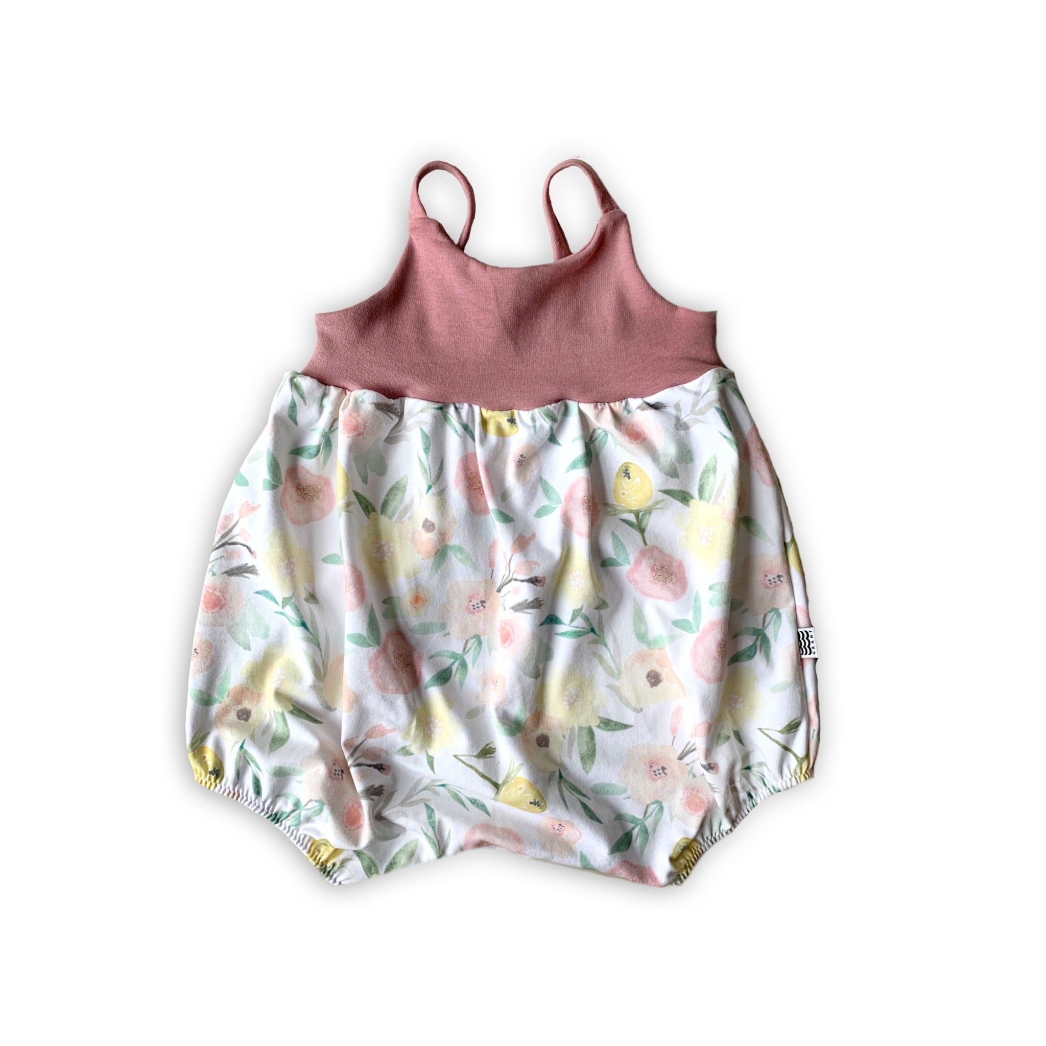 Shorts Bubble Romper in Fresh Blooms (choice of sleeve length)