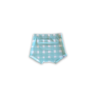 Seafoam Blue Watercolor Gingham Bummies or Harem Shorts for Baby Toddler and Kids