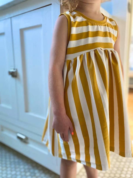 Twirl Dress in Golden Stripe (choose of sleeve length)