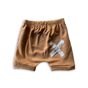 X Patchwork Crew Shorts in Toasted Wheat