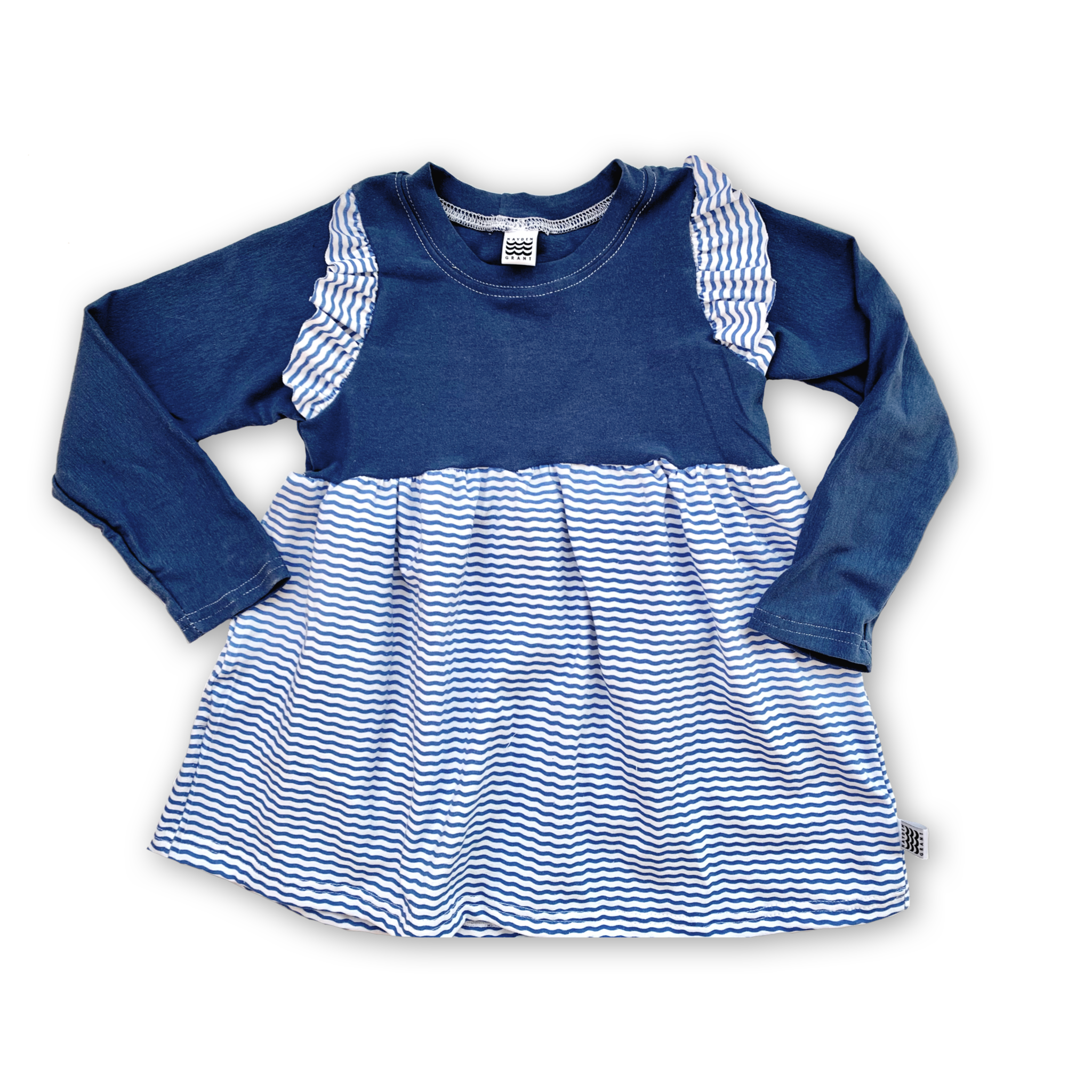 Peplum Flutter Tee in Wayfinder Stripe (choice of sleeve length)